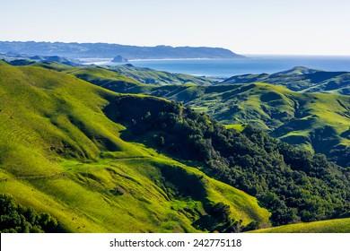 Morro Rock, Morro Bay, & Montana de Oro as seen from Highway 46-California-Central-Coast