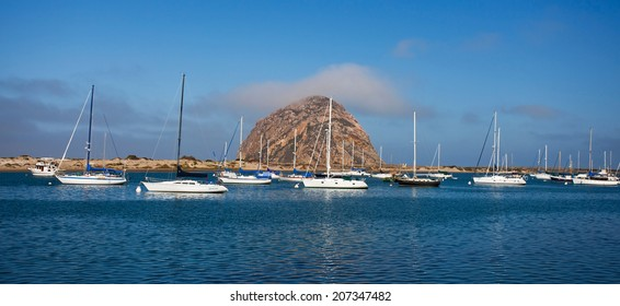 Morro Rock in the early morning lights, Morro Bay, California