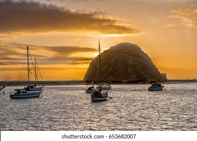 Morro Rock at Sunset at Highway 1 in California