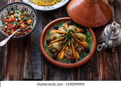 Morrocan cuisine chicken tagine, couscous and salad