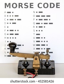 Morse Code Key with wall display of Morse Code