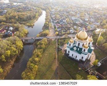 Morshansk city. Spring aerial view. Russia. Trinity Cathedral. River tsna