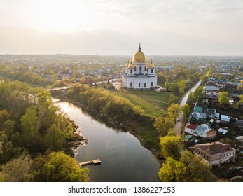 Morshansk city. Spring aerial view. Russia. Trinity Cathedral. River tsna, noise