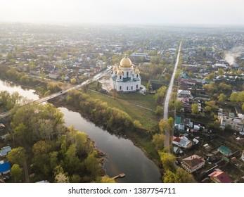 Morshansk city spring aerial view. Tambow region, Russia. Trinity Cathedral. River tsna