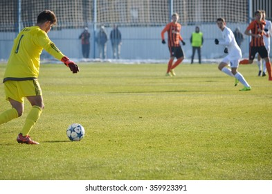 MORSHUN, UKRAINE - OCT 25: Luca Zidane (L) in action during the UEFA Youth Champions League match between Shakhtar vs Real Madrid (U19), 25 October 2015, Ukraine