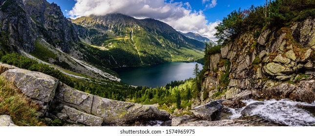 Morskie Oko, or Eye of the Sea in English, is the largest and fourth-deepest lake in the Tatra Mountains, in southern Poland. - Shutterstock ID 1574965975