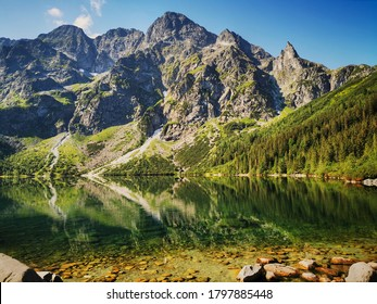 Morskie Oko has a view. Summer in the Tatras, holidays in the mountains. - Shutterstock ID 1797885448