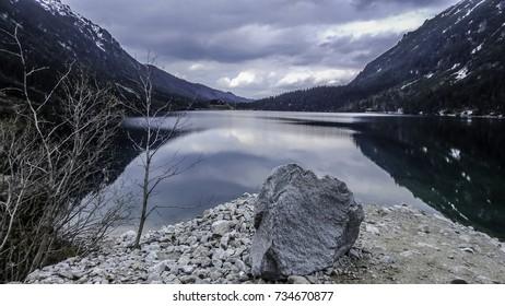Morskie Oko lake between mountains, mirror views, lake scenery