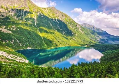 Morskie Oko lake (Eye of the Sea) at Tatra mountains in Poland. Famous Polish resort at Tatra National Park near Zakopane city. - Shutterstock ID 1521217793