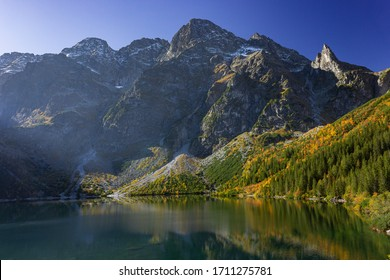 Morskie Oko lake (Eye of the Sea), the largest lake in polish Tatra Mountains. located in Rybi Potok Valley at the base of the Mięguszowiecki Summits, Mnich, Miedziane, Szpiglasowy and Opalony Wierch.