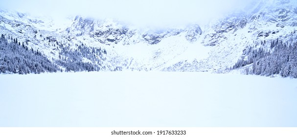Morskie Oko lake, or Eye of the Sea, in a valley of polish Tatra Mountains, are a popular tourist destination in Zakopane, Poland - Shutterstock ID 1917633233