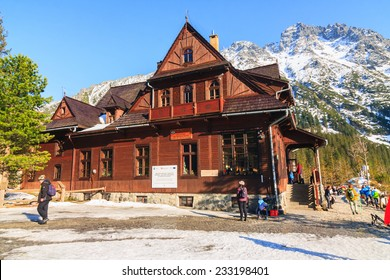 Morskie Oko Lake, POLAND - MARCH 14: Mountain shelter house in Tatra Mountains, Morskie Oko Lake, Poland on March 14, 2014.Tatra Mountains is very popular travel destination.