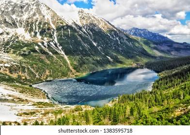 morskie oko lake in tatra mountains in poland