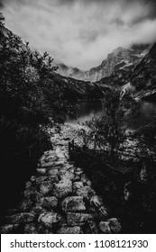 Morskie Oko lake i Tatras mountain, Zakopane, Poland, black and white