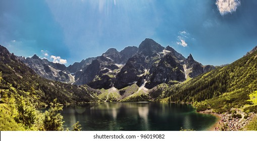 Morskie Oko is the largest and fourth deepest lake in Tatra Mountains, Poland