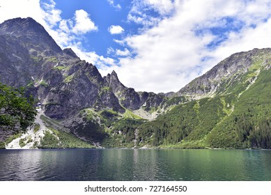 The Morskie Oko mountain lake in the Tatra Mountains in Poland, on a beautiful bright summer morning