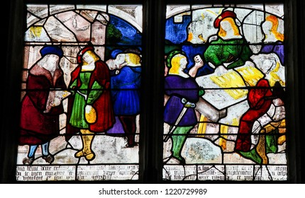 Mortagne-au-Perche, France - July 20, 2015: Stained Glass depicting scenes in the life of Saint Anthony of Padua in the Notre Dame church of Mortagne, Perche, France