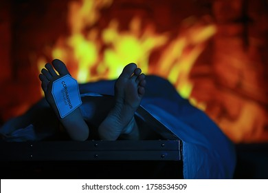 mortality from coronavirus, a corpse is burned in a crematorium, the concept of covid 19 pandemic infection, imitation of a morgue