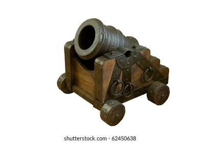 mortar. 18 century. Metal. Isolated on white