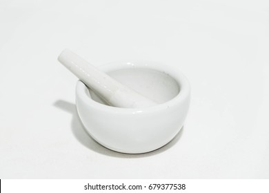 Mortar and pestle isolated white background.