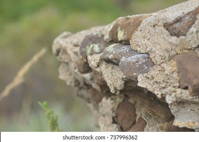 Mortar and Stone Crumbled Wall
