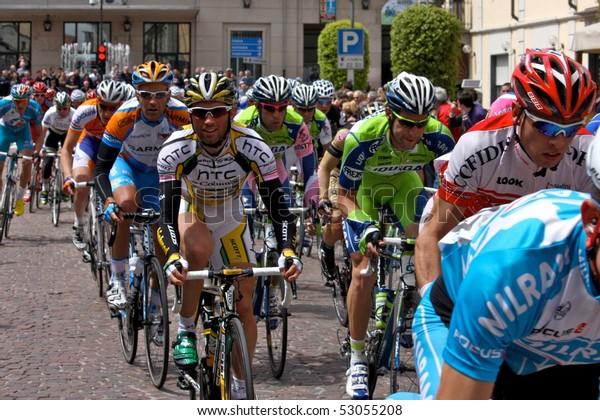 MORTARA, ITALY - MAY 13: Giro d'Italia (Tour of Italy) 5th stage Novara - Novi Ligure - Group of Cyclists from Various Teams During Stage 5 of the Giro d'Italia, may 13 2010 in Mortara, Italy