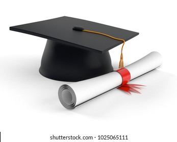 Mortarboard with certificate isolated on white background. 3d illustration