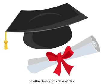 Mortarboard and diploma. Isolated on white illustration