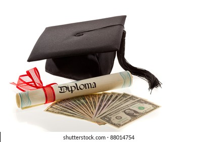 mortarboard and dollars. symbol for education costs in america.