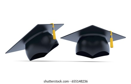 Mortarboard isolated on white background. 3d illustration