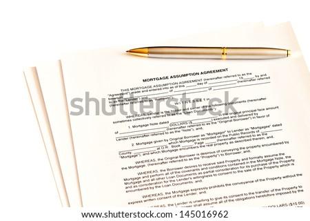 Mortgage Assumption Agreement Pen Signature Stock Photo Edit Now