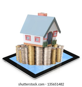 Mortgage concept by money house from coins and  tablet