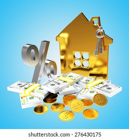 Mortgage concept. Golden house, coins, stack of dollar bills and silver percent sign on blue background