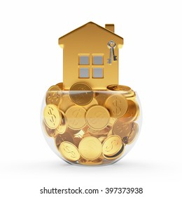 Mortgage concept. Golden house standing on coins in the glass bowl isolated on white background.3d illustration.