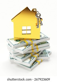 Mortgage concept. Golden shape of the house on a stacks of dollar bills isolated on white background