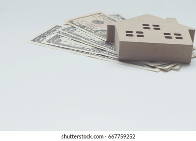 Mortgage load and Dollar money property for concept with copy space.