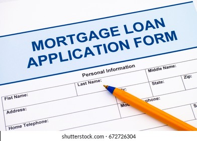 Mortgage Loan application form with ballpoint pen