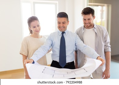 Estate agent images stock photos vectors shutterstock mortgage people and real estate concept realtor showing blueprint of new home to happy malvernweather Images