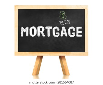 Mortgage word on blackboard with easel isolated on white background with Clipping path at object,Banking concept