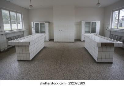 mortuary slabs at old abandoned hospital