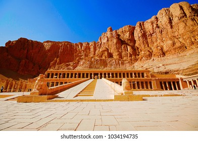 The Mortuary Temple of Hatshepsut, Is an ancient funerary shrine, Dedicated to the sun god Amon,  Located on the west bank of the Nile river, Near Valley of the Kings, Luxor, Upper Egypt