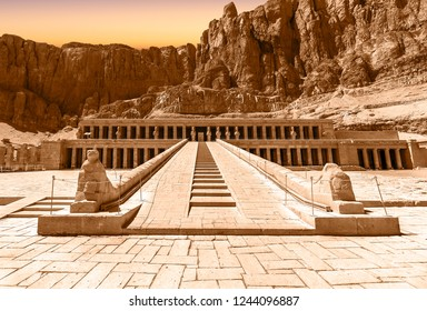 The Mortuary Temple of Hatshepsut, also known as the Djeser-Djeseru. Built for the Eighteenth Dynasty pharaoh Hatshepsut, it is located beneath the cliffs at Deir el-Baharinear the Valley of the Kings