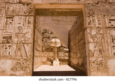The mortuary temple of Ramses III, Pharaoh of Egypt, at Medinet Habu, Luxor (Thebes) Egypt
