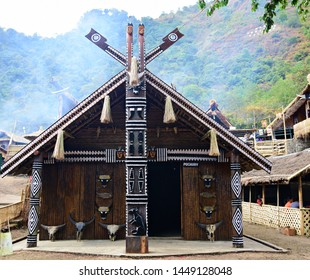 """""""Morung (Youth dormitory) of Pochury tribe displayed at the heritage village in Kisama near Kohima town, Nagaland, Northeast India during the occasion of 19th Hornbill festival - 3rd December 2018"""""""