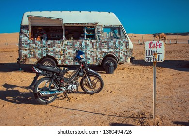 Mos Espa, Nafta/Tunisia - 05.03.2018: cafe near Mos Espa city built in the desert for filming 4th episode of Star Wars movie