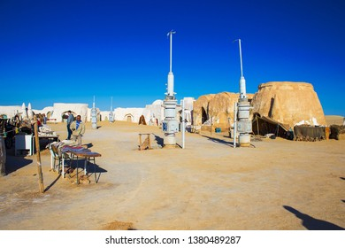 Mos Espa, Nafta/Tunisia - 05.03.2018: decoration built in the desert for filming 4th episode of Star Wars movie