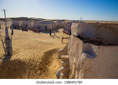 Mos Espa, Nafta/Tunisia - 05.03.2018: panoramic view on Mos Espa city built in the desert for filming 4th episode of Star Wars movie