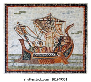 Mosaic art depicting Odysseus tied to the mast of his ship, sailing past the island of the Seirenes