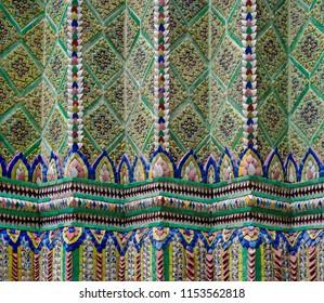 Mosaic Art At Wat Phra Kaew ( Temple Of Emerald Buddha ) Bangkok , Thailand