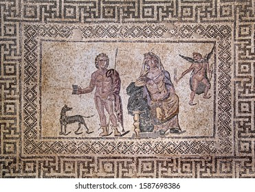 Mosaic from the atrium of the house of Dionysus with images of Phaedra and Hippolytus. Paphos. Cyprus.